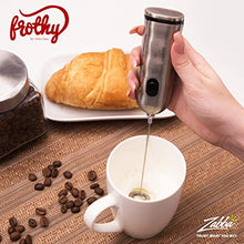 Load image into Gallery viewer, Electric Milk Frother, Handheld Drink Mixer - Foamer for Smooth, Creamy Coffee, Lattes, Cappuccino, Frappe, Milkshakes & More - Durable Stainless Steel, 2-Speed Mini Hand Whisk - Battery Operated