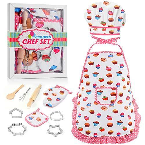 LET'S GO! Fun Gifts for Girls Kids Age 3-12, Kids Chef Hat and Apron, Cooking Baking Sets Great Toys for Kids Girls Age 9-12, Birthday for Kids Girls Toddlers (11 PCs) - PHUNUZ