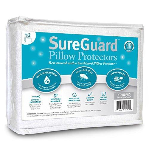 Set of 2 Standard Size SureGuard Pillow Protectors - 100% Waterproof, Bed Bug Proof, Hypoallergenic - Premium Zippered Cotton Terry Covers - 10 Year Warranty - PHUNUZ