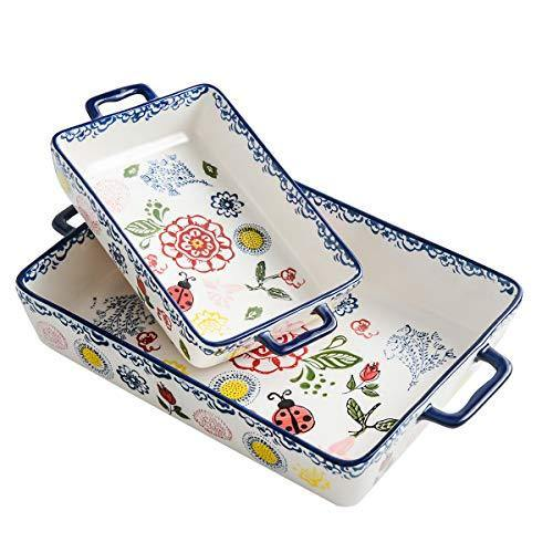 BFU Ceramics Rectangular Baking Dish Set, 2-piece, Baking Pans for Cooking,Cake dinner, Kitchen, Banquet and Daily Use, Stoneware Hand-painted Lasagna Pan,10.63 x 7.48 Inch and 7.48 x 5.12 Inch - PHUNUZ