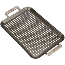 Load image into Gallery viewer, Grill Topper BBQ Grilling Pans (Set of 2) - Non-Stick Barbecue Trays w Stainless Steel Handles for Meat, Vegetables, and Seafood