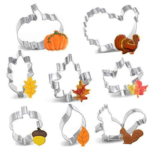 8PCS Large Fall Thanksgiving Cookie Cutter Set - Turkey, Pumpkin, Maple/Oak/Teardrop Leaf, Squirrel and Acorn - PHUNUZ