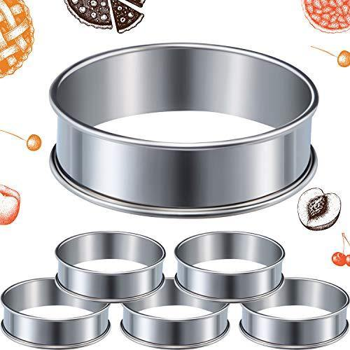 6 Pieces Muffin Tart Rings Double Rolled Tart Ring Stainless Steel Muffin Rings Metal Round Ring Mold for Home Food Making Tool, 3.15 Inch - PHUNUZ