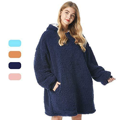 Felicigeely Wearable Fleecehug Hoodie Blanket ,Oversized Blanket Sweatshirt,Soft Warm Reversible Hooded Sweatshirt Thick Plush Giant Pullover Fleece Sweater for Adults Men Women Teens Friends - PHUNUZ
