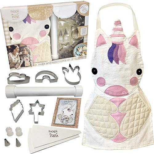 Hapinest Kids Baking Set for Girls Gifts Ages 4 5 6 7 8 Year Old Make and Bake Cookies Unicorn Apron and Cookie Cutters, 14 Pieces - PHUNUZ