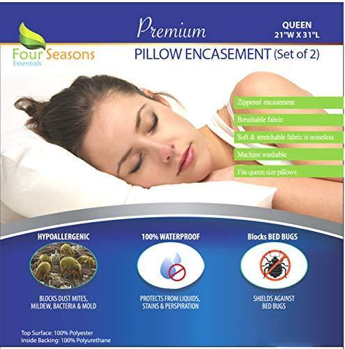 Four Seasons Essentials Queen Size Waterproof Pillow Protectors (Set of 2) – Allergy Pillowcase Cover Hypoallergenic Bedbug Dust Mite Proof Zippered Encasement - PHUNUZ