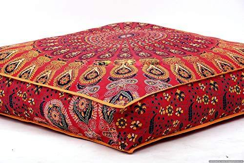 Krati Exports Indian Floor Pillow Cushion Covers in Mandala Design (Red) - PHUNUZ