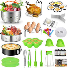 Load image into Gallery viewer, Mibote101 Pcs Accessories Set for Instant Pot 5,6,8 Qt, 2 Steamer Baskets, Springform Pan, Egg Steamer Rack, Egg Bites Mold, Kitchen Tong, Silicone Pad, Oven Mitts, Cheat Sheet Magnet, and etc