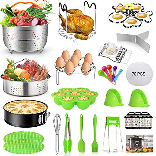 Mibote101 Pcs Accessories Set for Instant Pot 5,6,8 Qt, 2 Steamer Baskets, Springform Pan, Egg Steamer Rack, Egg Bites Mold, Kitchen Tong, Silicone Pad, Oven Mitts, Cheat Sheet Magnet, and etc