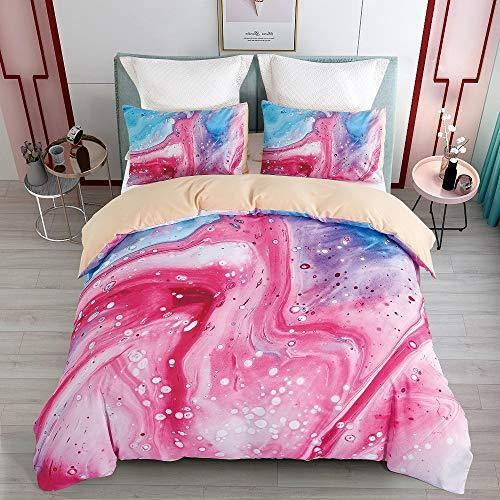 KINBEDY Marble Watercolor Kids Duvet Cover Set, Colorful Teen Girls Bedding Sets Twin Size Pink 2 Pcs Ultra Soft Set. - PHUNUZ