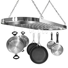 Load image into Gallery viewer, Sorbus Pot and Pan Rack for Ceiling with Hooks — Decorative Oval Mounted Storage Rack — Multi-Purpose Organizer for Home, Restaurant, Kitchen Cookware, Utensils, Books, Household (Hanging Chrome)