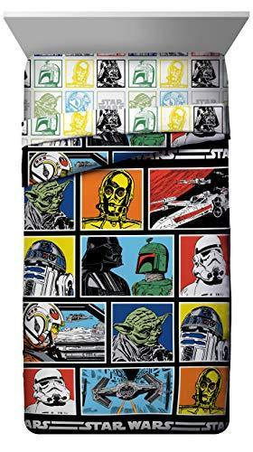 Stars Wars Classic Character Grid Twin Comforter - Super Soft Kids Reversible Bedding features Star Wars characters - Fade Resistant Polyester Microfiber Fill (Official Stars Wars Product) - PHUNUZ