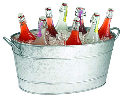 TableCraft Galvanized Oval Beverage Tub, 22.8 x 14.5 x 9.5-Inch