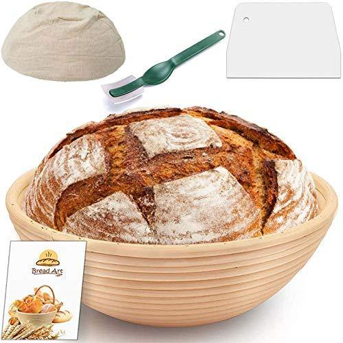 9 Inch Proofing Basket - Bread Banneton with Cloth Liner Dough Scraper and Bread Lame for Home and Professional Bakers - PHUNUZ