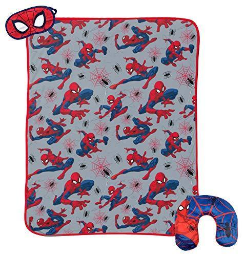 Jay Franco Marvel Spiderman 3 Piece Plush Kids Travel Set with Neck Pillow, Blanket, Eye Mask (Official Marvel Prodcut) - PHUNUZ