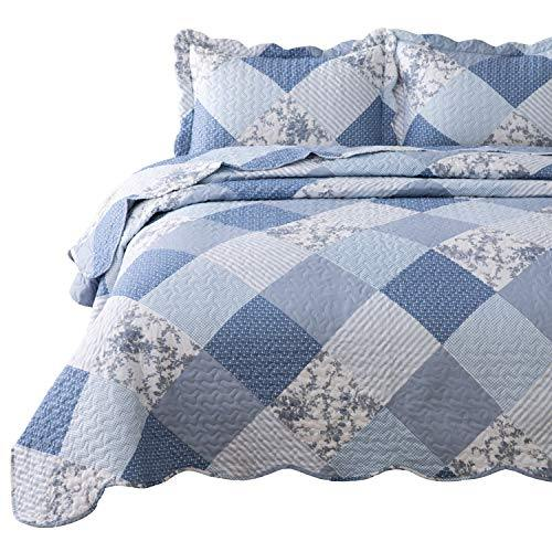 Bedsure 3-Piece Printed Quilt Set King Size (106x96 inches), Blue Floral Patchwork Pattern, Lightweight Bedspread Coverlet Design for All Season, 1 Quilt and 2 Pillow Shams - PHUNUZ