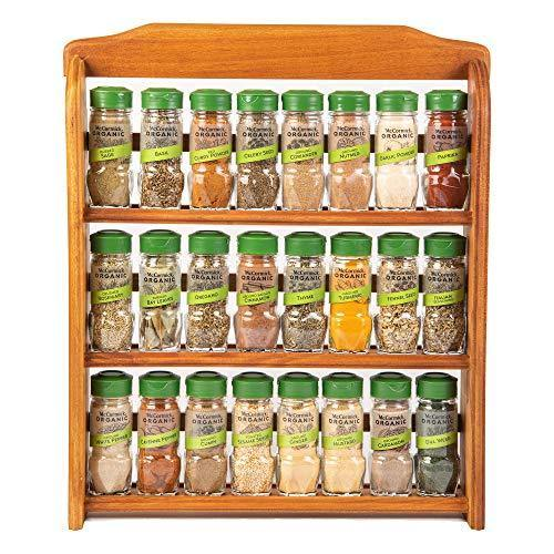 McCormick Gourmet Three Tier Wood 24 Piece Organic Spice Rack Organizer with Spices Included, 27.6 oz - PHUNUZ