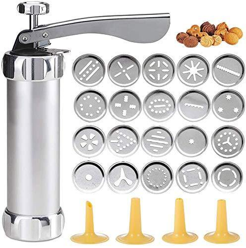 Cookie Press Gun Kit-Includes 20 Cookie dies and 4 Stainless Steel nozzle for DIY Biscuit Maker and Decoration Christmas Cookie Making Silver - PHUNUZ