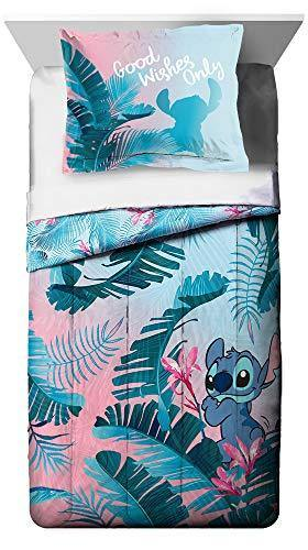 Jay Franco Disney Lilo & Stitch Floral Fun Full/Queen Comforter & Sham Set - Super Soft Kids Reversible Bedding - Fade Resistant Microfiber (Official Disney Product) - PHUNUZ