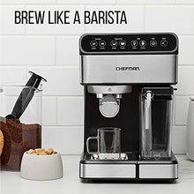 Load image into Gallery viewer, Chefman 6-in-1 Espresso Machine Powerful 15-Bar Pump, Brew Single or Double Shot, Built-In Milk Froth for Cappuccino & Latte Coffee, XL 1.8 Liter Water Reservoir, Dishwasher-Safe Parts,Stainless Steel