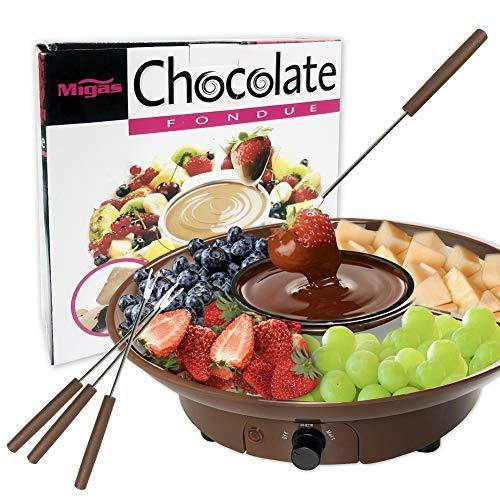 Chocolate Fondue Maker - 110V Electric Chocolate Melting Pot Set with Stainless Steel Bowl, Serving Tray, 4 Steel Forks, Brown - PHUNUZ