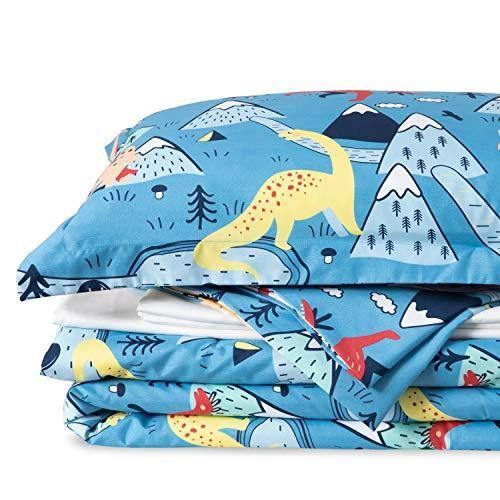 Bedsure Kids Twin Bedding Sets for Boys, Dinosaur Bedding, 5 Pieces Bed in a Bag, Easy Care Super Soft Microfiber Comforter and Sheets Set (Blue,Twin) - PHUNUZ