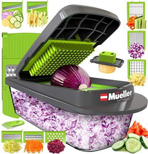 Mueller Austria Pro-Series Onion Mincer Chopper, Slicer, Vegetable Chopper, Cutter, Dicer, Vegetable Slicer with Container and 8 Blades - PHUNUZ