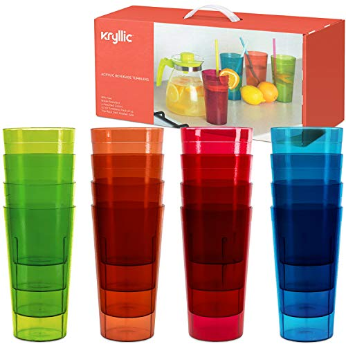 Kryllic Drinking Glasses Plastic Tumblers Drinkware Kids Cups - Acrylic Tumbler Set of 16 Break Resistant 20 oz. in 4 Assorted Colors Restaurant Quality Tumbers Dishwasher Safe and BPA Free
