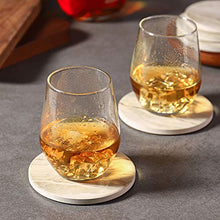 Load image into Gallery viewer, LIFVER Drink Coasters with Holder, Absorbent Coaster Sets of 6, Marble Style Ceramic Drink Coaster for Tabletop Protection,Suitable for Kinds of Cups, Wooden Table,4 Inches