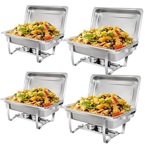 SUPER DEAL 8 Qt Stainless Steel 4 Pack Full Size Chafer Dish w/Water Pan, Food Pan, Fuel Holder and Lid For Buffet/Weddings/Parties/Banquets/Catering Events (4) - PHUNUZ