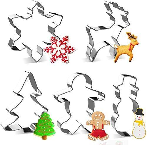 LEEFE 5Pcs Christmas Cookie Cutter, Stainless Steel Baking Shape Mold for Making Muffins Biscuits - Gingerbread Men, Snowman, Snowflake, Christmas Tree, Reindeer - PHUNUZ