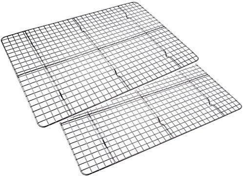 Checkered Chef Cooling Racks for Baking 17 x 11.75inch - Baking Rack Twin Set. Stainless Steel Oven and Dishwasher Safe Wire Cooling Rack. Fits Half Sheet Cookie Pan- set of 2 - PHUNUZ
