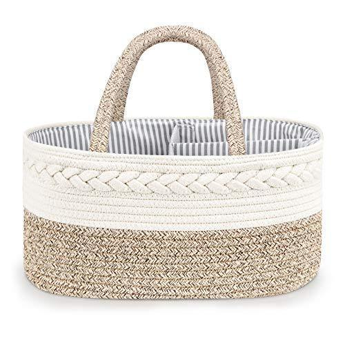 Diaper Caddy Organizer for Baby - 100% Cotton Rope Baby Basket Changing Table Diaper Storage Caddy, Maliton Portable Diaper Caddy for Baby Stuff, Best Baby Shower Gifts - PHUNUZ