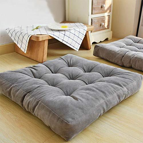 EGOBUY Solid Square Floor Pillow Tufted Thicken Chair Pad Tatami Corduroy Seat Cushion, 22x22 inch, Gray - PHUNUZ