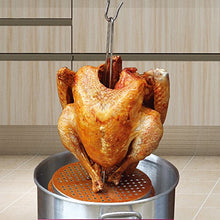 Load image into Gallery viewer, BOHK Perforated Aluminum Turkey Chicken Poultry Deep Frying Rack with Chrome Finish Wire Handle Lifter Hook Vertical Roaster Holder Base for Deep Fry Pot Grill BBQ