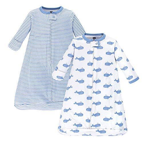 Hudson Baby unisex baby Cotton Long-Sleeve Sleeping Bag, Sack, Wearable Blanket, Blue Whales, 3-9 Month US - PHUNUZ
