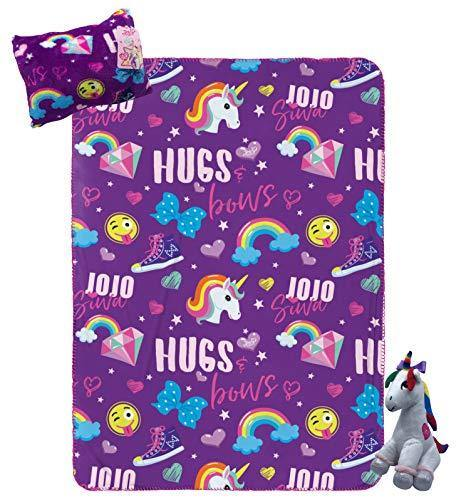 Nickelodeon JoJo Siwa Travel Set - 3 Piece Kids Travel Set Includes Blanket, Pillow, & Plush - Featuring Unicorn (Offical Nickelodeon Product) - PHUNUZ