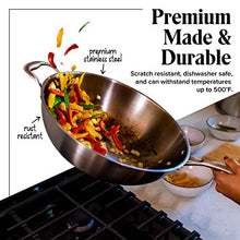 "Load image into Gallery viewer, Wok Pan with Lid - 13"" Wide, 2mm Thick Stir Fry Frying Pan Stainless Steel – Non Stick, Scratch Resistant, Oven Safe - Bamboo Spatula Included"