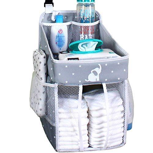 Hanging Diaper Caddy – Crib Diaper Organizer – Diaper Stacker for Crib, Playard or Wall – Newborn Boy and Girl Diaper Holder for Changing Table - Baby Shower Gifts- Elephant Gray - 17x9x9 inches - PHUNUZ
