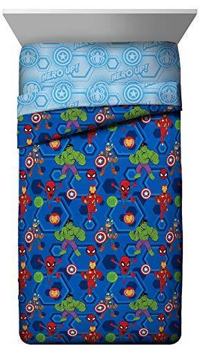Jay Franco Marvel Super Hero Adventures Hero Together Twin Comforter - Super Soft Kids Bedding Features The Avengers - Fade Resistant Microfiber (Official Marvel Product) - PHUNUZ