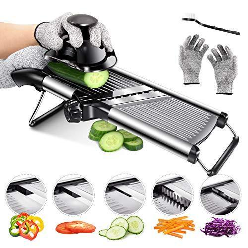 Mandoline Food Slicer Adjustable Thickness for Cheese Fruits Vegetables Stainless Steel Food Cutter Slicer Dicer with Extra Brush and Blade Guard for Kitchen - PHUNUZ