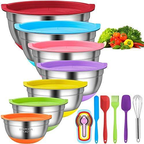 Mixing Bowls with Airtight Lids, 18pcs Stainless Steel Nesting Colorful Mixing Bowls Set – Non-slip Silicone Bottom, Size 7, 5.5, 4, 3.5, 2.5, 2, 1.5 qt, Fit for Mixing & Serving - PHUNUZ