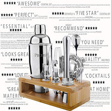 Load image into Gallery viewer, Proost 14-piece Cocktail Shaker Set with Stand & Drink Recipe Booklet: Bartender Kit | Perfect Bar Set/Cocktail Set for Home with All Essential Bar Tools | Bartender Set