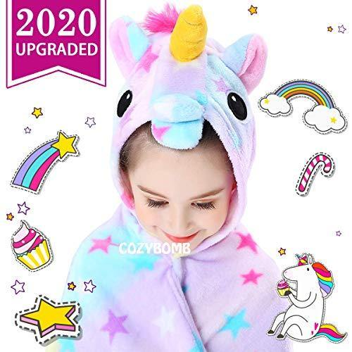 CozyBomB Rainbow Unicorns Gifts for Girls - Wearable Fleece Soft Throw Blanket for Kids Girl - Cute Hooded Plush Bathrobe Cozy Wrap with Hood Sleep Age 3 4 5 6 Year Old Christmas (Star) - PHUNUZ