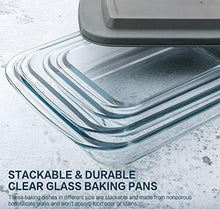 Load image into Gallery viewer, 8-Piece Deep Glass Baking Dish Set with Plastic lids,Rectangular Glass Bakeware Set with BPA Free Lids, Baking Pans for Lasagna, Leftovers, Cooking, Kitchen, Freezer-to-Oven and Dishwasher