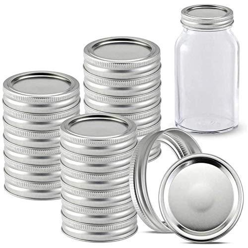 24 Pack Wide Mouth Canning Jar Lids and Rings for Mason Jars, Jar and Bands Leak Proof Storage Can Covers with Silicone Seals for Canning, Pickling, Freezing, Microwave and Dishwasher (Silver) - PHUNUZ