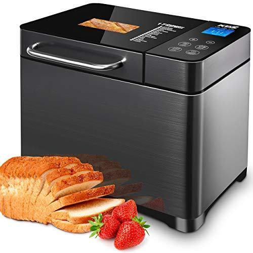 KBS 17-in-1 Bread Machine with Double Tubes, 2LB XL Bread Maker with Fruit Nut Dispenser, Ceramic Pan& Digital Touch Panel, 3 Loaf Sizes 3 Crust Colors, Reserve& Keep Warm Set, Stainless Steel/Black - PHUNUZ
