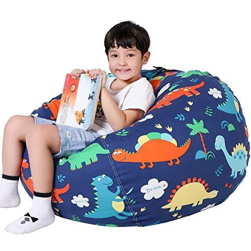 Lukeight Stuffed Animal Storage Bean Bag Chair for Kids, Zipper Storage Bean Bag for Organizing Stuffed Animals, Dinosaur Bean Bag Chair Cover, (No Beans) Large - PHUNUZ