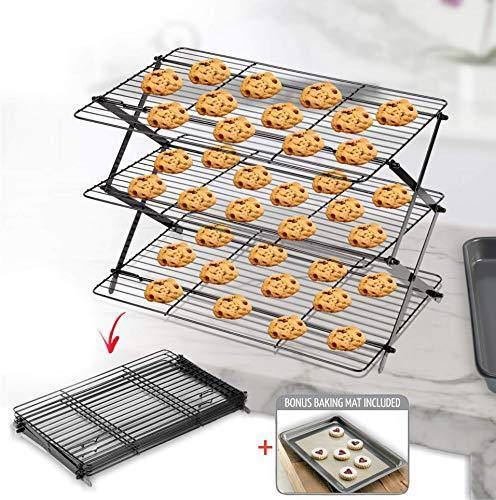 3-Tier Collapsible Cooling Rack - Bonus Baking Mat Included - Expandable & Foldable Cookie Cooling Wire Rack - Baking Rack - Foldable Cooling Rack For Baking Supplies - Premium Quality & Sturdy Legs - PHUNUZ