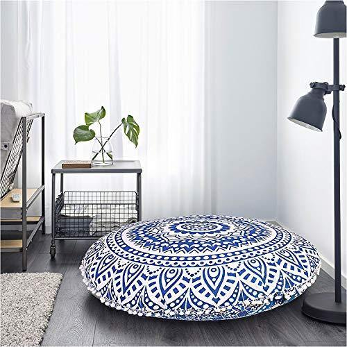 Gokul Handloom Indian Large Mandala Floor Pillow Comfortable Home Car Bed Sofa Large Mandala Floor Pillows Round Bohemian Meditation Cushion Cover Ottoman Pouf Cover - PHUNUZ